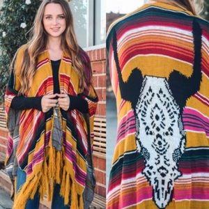 Sweaters - Boho Cow Skull Poncho Scarf Wrap